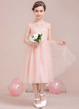 A-Line Scoop Neck Knee-Length Tulle Junior Bridesmaid Dress With Ruffle Lace Beading Sequins (009106848)