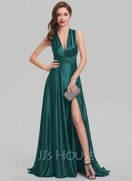 A-Line/Princess V-neck Sweep Train silk like satin Evening Dress With Split Front (017137367)