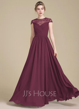A-Line/Princess Scoop Neck Floor-Length Chiffon Lace Bridesmaid Dress With Ruffle (007104723)