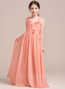 A-Line V-neck Floor-Length Chiffon Junior Bridesmaid Dress With Cascading Ruffles (009087897)