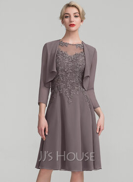 A-Line Scoop Neck Knee-Length Chiffon Lace Cocktail Dress (016174096)