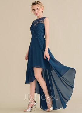 A-Line Scoop Neck Asymmetrical Chiffon Lace Bridesmaid Dress (007144767)