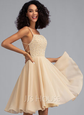 A-Line Square Neckline Knee-Length Chiffon Homecoming Dress With Beading Sequins (022203157)