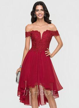 A-Line Off-the-Shoulder Asymmetrical Chiffon Homecoming Dress (022164844)