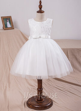 Ball-Gown/Princess Knee-length Flower Girl Dress - Tulle/Lace Sleeveless Scoop Neck With Bow(s) (010101901)
