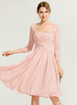 A-Line/Princess Sweetheart Knee-Length Chiffon Cocktail Dress With Ruffle Beading (016170894)