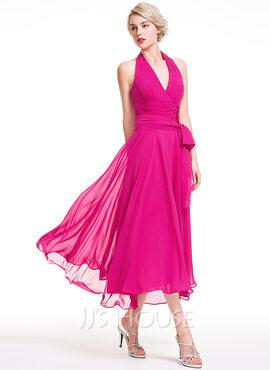 A-Line Halter Asymmetrical Chiffon Bridesmaid Dress With Ruffle Bow(s) (007087721)