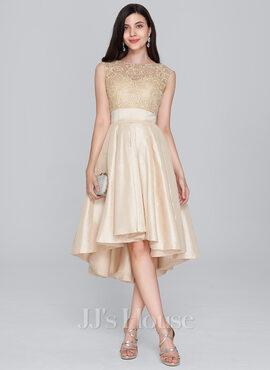 A-Line Scoop Neck Asymmetrical Taffeta Homecoming Dress (022124875)