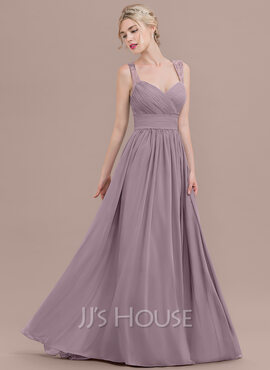 A-Line/Princess Sweetheart Sweep Train Chiffon Bridesmaid Dress With Ruffle Lace (007116636)