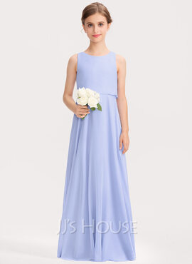 A-Line Scoop Neck Floor-Length Chiffon Junior Bridesmaid Dress (009191735)