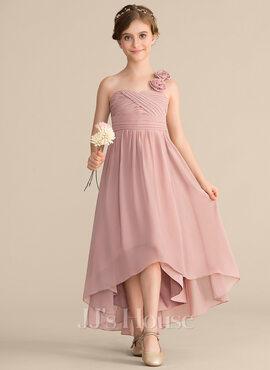 A-Line One-Shoulder Asymmetrical Chiffon Junior Bridesmaid Dress With Ruffle Flower(s) Bow(s) (009165013)