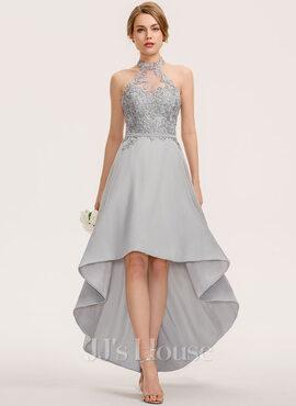 A-Line Halter Asymmetrical Chiffon Lace Bridesmaid Dress (007190692)
