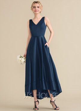 A-Line V-neck Asymmetrical Satin Bridesmaid Dress With Pockets (007131061)