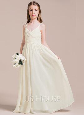 A-Line V-neck Floor-Length Chiffon Junior Bridesmaid Dress With Ruffle (009087901)