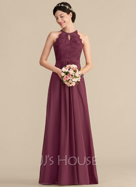 A-Line/Princess Scoop Neck Floor-Length Chiffon Lace Prom Dresses (018186914)
