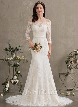 Trumpet/Mermaid Off-the-Shoulder Court Train Lace Wedding Dress (002186388)