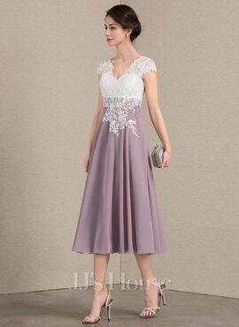 A-Line V-neck Tea-Length Chiffon Lace Cocktail Dress (016174145)