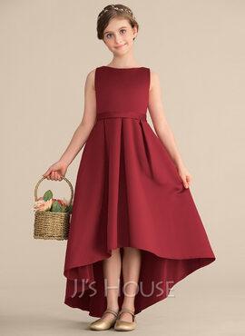 A-Line Scoop Neck Asymmetrical Satin Junior Bridesmaid Dress With Ruffle Pockets (009165007)