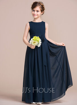 Empire Floor-length Flower Girl Dress - Chiffon Sleeveless Scoop Neck With Bow(s) (010106134)