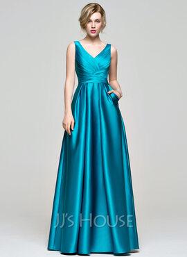 A-Line V-neck Floor-Length Satin Prom Dresses With Ruffle Pockets (018112671)