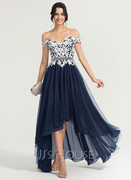 A-Line Off-the-Shoulder Asymmetrical Tulle Evening Dress With Beading Sequins (017167719)