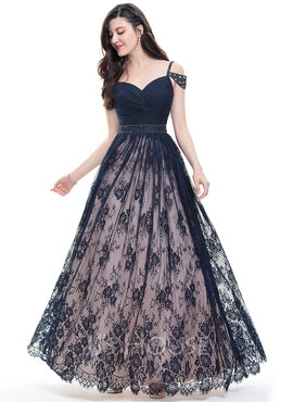 Ball-Gown Sweetheart Floor-Length Lace Prom Dresses With Ruffle Beading Sequins (018105679)