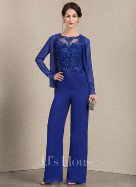 Jumpsuit/Pantsuit Scoop Neck Floor-Length Chiffon Lace Mother of the Bride Dress (008143363)
