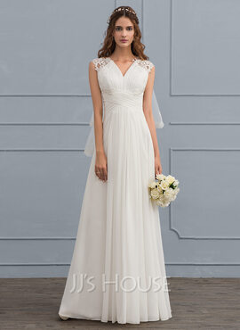 A-Line/Princess Sweetheart Floor-Length Chiffon Wedding Dress With Ruffle (002119798)