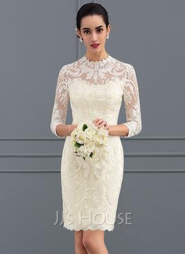 Sheath/Column High Neck Knee-Length Lace Wedding Dress (002127281)