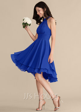 A-Line Scoop Neck Asymmetrical Chiffon Bridesmaid Dress With Ruffle (007153318)