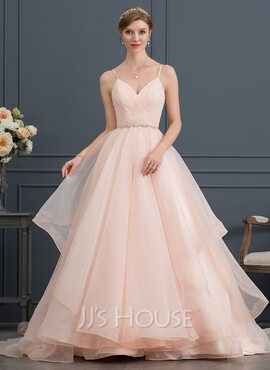 Ball-Gown Sweetheart Court Train Organza Wedding Dress With Ruffle Beading (002171957)