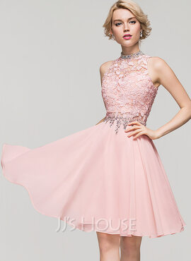 A-Line High Neck Knee-Length Chiffon Cocktail Dress With Beading Sequins (016091229)