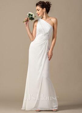 Sheath/Column One-Shoulder Floor-Length Chiffon Bridesmaid Dress With Ruffle (007068385)
