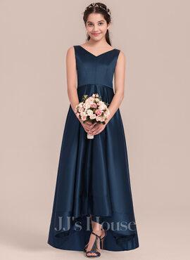 A-Line V-neck Asymmetrical Satin Junior Bridesmaid Dress (009130615)