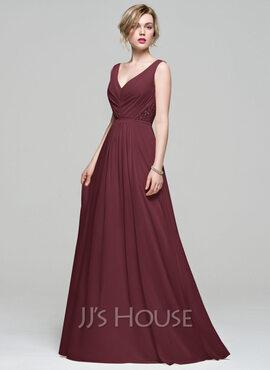 A-Line V-neck Floor-Length Chiffon Bridesmaid Dress With Ruffle Lace (007074167)