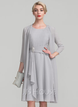 A-Line Scoop Neck Knee-Length Chiffon Mother of the Bride Dress With Beading Cascading Ruffles (008114231)