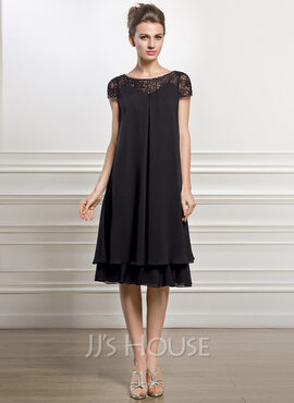 Empire Scoop Neck Knee-Length Chiffon Mother of the Bride Dress With Beading Sequins (008057066)