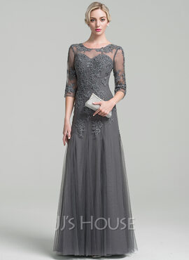 A-Line/Princess Scoop Neck Floor-Length Tulle Mother of the Bride Dress With Beading Sequins (008091961)