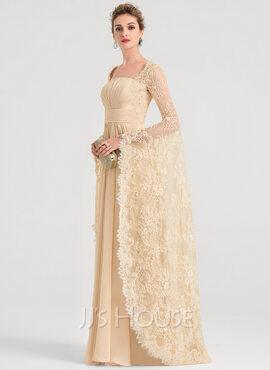 A-Line Square Neckline Floor-Length Chiffon Evening Dress With Ruffle Beading (017149490)