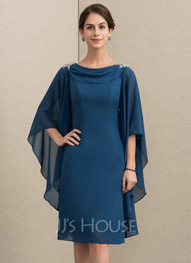 Sheath/Column Cowl Neck Knee-Length Chiffon Mother of the Bride Dress With Beading (008152156)