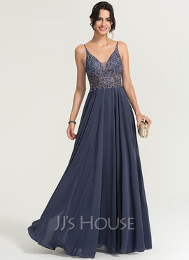 A-Line V-neck Floor-Length Chiffon Prom Dresses With Beading (018186894)