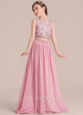 A-Line Scoop Neck Floor-Length Chiffon Junior Bridesmaid Dress (009130498)