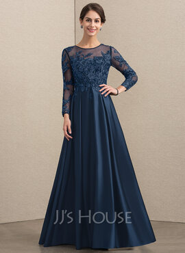 A-Line Scoop Neck Floor-Length Satin Lace Mother of the Bride Dress With Beading (008164079)