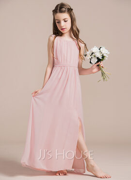 A-Line Scoop Neck Floor-Length Chiffon Junior Bridesmaid Dress With Ruffle Split Front (009087913)