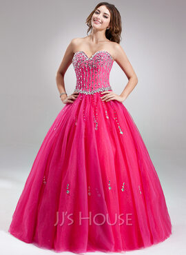 Ball-Gown Sweetheart Floor-Length Tulle Prom Dresses With Beading (018112896)