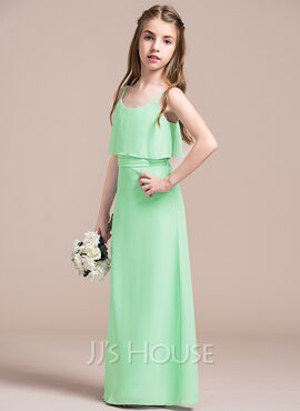 A-Line Scoop Neck Floor-Length Chiffon Junior Bridesmaid Dress With Bow(s) (009087889)