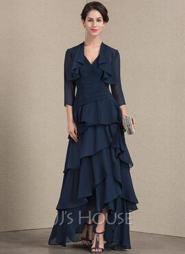 A-Line V-neck Asymmetrical Chiffon Mother of the Bride Dress With Beading Sequins Cascading Ruffles (008143383)