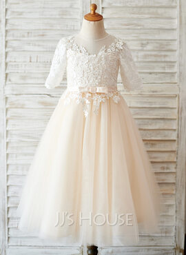A-Line Tea-length Flower Girl Dress - Tulle/Lace 3/4 Sleeves Scoop Neck With Bow(s) (010169227)