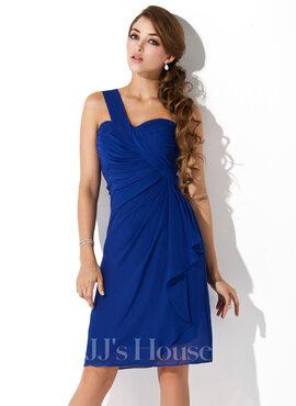 Sheath/Column One-Shoulder Knee-Length Chiffon Homecoming Dress With Cascading Ruffles (022010850)
