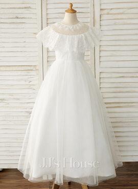 A-Line Floor-length Flower Girl Dress - Tulle/Lace Sleeveless Scoop Neck (010183525)